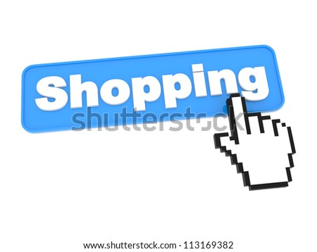 Web Button - Shopping. Isolated on White Background. - stock photo