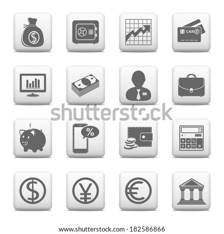 Web buttons, finance icons set - stock photo