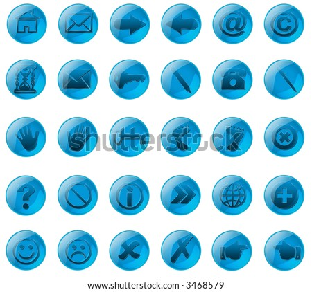 Web buttons of azure glass colors with various symbol