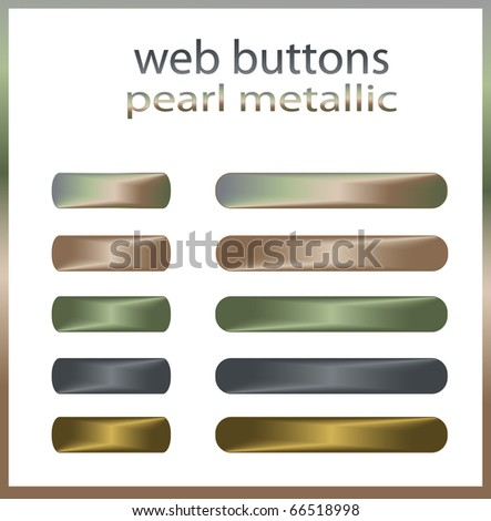 Web buttons Pearl Metal, raster template - stock photo