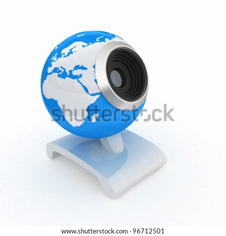 Web-cam for earth.Global on line concept - stock photo