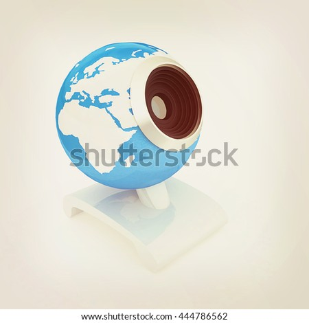 Web-cam for earth. Global on line concept on a white background. 3D illustration. Vintage style. - stock photo