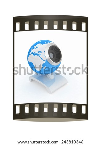 Web-cam for earth. Global on line concept on a white background. The film strip - stock photo