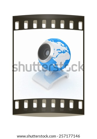 Web-cam for earth.Global on line concept on a white background. The film strip - stock photo