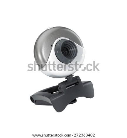 Web camera close-up isolated on a white background - stock photo