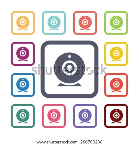 web camera flat icons set. Open colorful buttons - stock photo