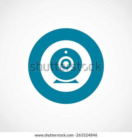 web camera icon bold blue circle border, white background   - stock photo