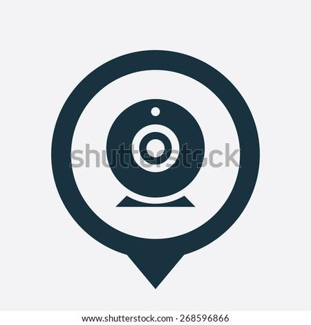 web camera icon map pin on white background  - stock photo