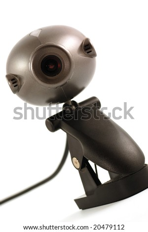 Web camera on white background with cord