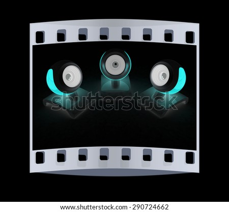 Web-cams on a black background. The film strip - stock photo
