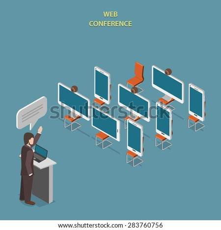 Web Conference or Webinar Flat Isometric Concept. Devices Like PC, Smartphone, Tablet Sitting on Chairs and Listen to Speaker at Conference. - stock photo