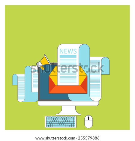 Web contact and business newsletter concept with an email envelope and newspaper. Regularly distributed news publication via e-mail with some topics of interest to its subscribers. Raster version - stock photo