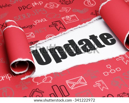 Web design concept: black text Update under the curled piece of Red torn paper with  Hand Drawn Site Development Icons - stock photo