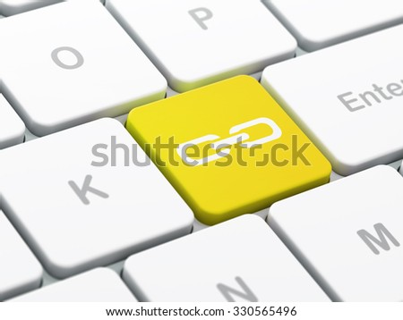 Web design concept: computer keyboard with Link icon on enter button background, selected focus, 3d render - stock photo