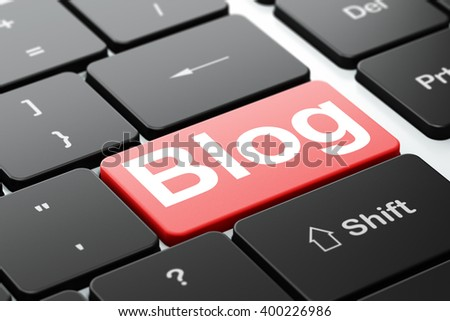 Web design concept: computer keyboard with word Blog, selected focus on enter button background, 3D rendering