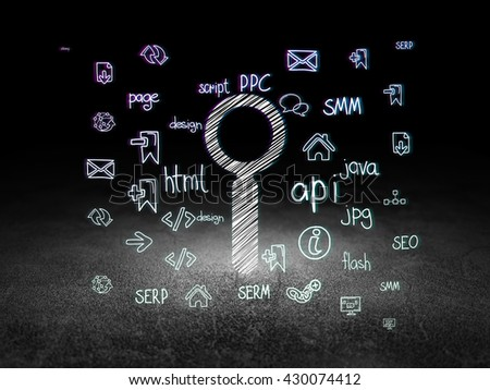 Web design concept: Glowing Search icon in grunge dark room with Dirty Floor, black background with  Hand Drawn Site Development Icons - stock photo