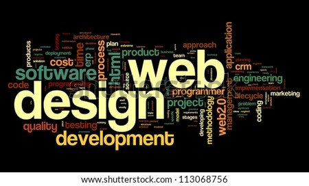 Web design concept in word tag cloud on black background - stock photo