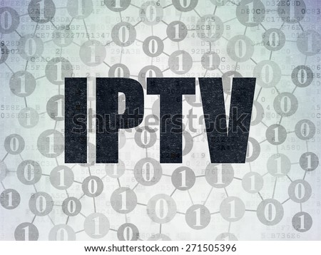 Web design concept: Painted black text IPTV on Digital Paper background with  Scheme Of Binary Code, 3d render - stock photo
