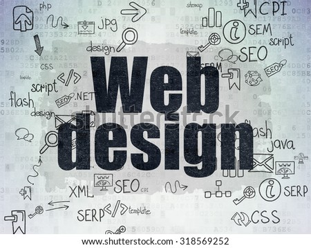 Web design concept: Painted black text Web Design on Digital Paper background with Scheme Of Hand Drawn Site Development Icons - stock photo