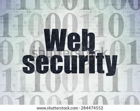 Web design concept: Painted black text Web Security on Digital Paper background with   Binary Code, 3d render - stock photo