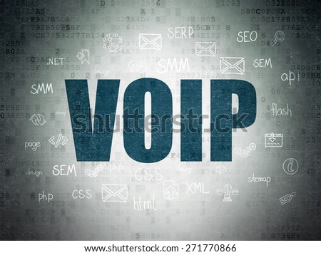 Web design concept: Painted blue text VOIP on Digital Paper background with  Hand Drawn Site Development Icons, 3d render - stock photo