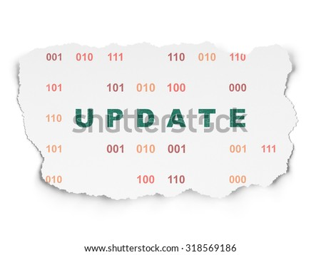 Web design concept: Painted green text Update on Torn Paper background with  Binary Code - stock photo