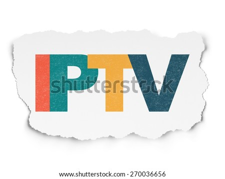 Web design concept: Painted multicolor text IPTV on Torn Paper background, 3d render - stock photo