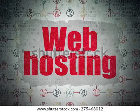 Web design concept: Painted red text Web Hosting on Digital Paper background with  Scheme Of Hexadecimal Code, 3d render - stock photo