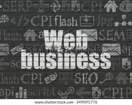 Web design concept: Painted white text Web Business on Black Brick wall background with  Hand Drawn Site Development Icons - stock photo