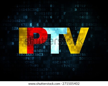 Web design concept: Pixelated  text IPTV on Digital background, 3d render - stock photo