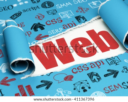Web design concept: red text Web under the curled piece of Blue torn paper with  Hand Drawn Site Development Icons, 3D rendering - stock photo