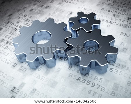 Web design concept: Silver Gears on digital background, 3d render - stock photo