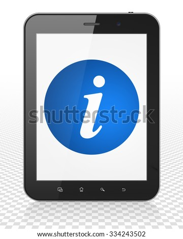 Web design concept: Tablet Pc Computer with blue Information icon on display - stock photo