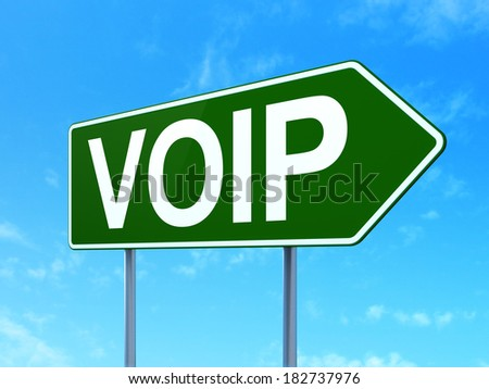 Web design concept: VOIP on green road (highway) sign, clear blue sky background, 3d render