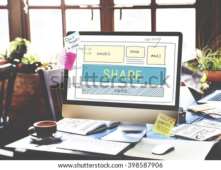 Web Design Layout Share Sharing Concept - stock photo