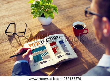 Web Design Network Website Ideas Media Information Concept - stock photo