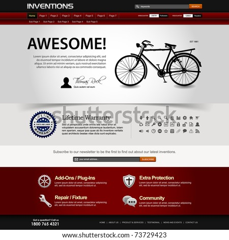 Web Design Website Elements Dark Template - stock photo