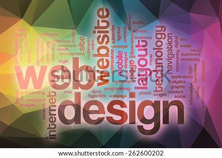 Web design word cloud concept with abstract background - stock photo