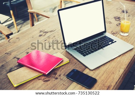 web designers workspace with laptop computer with mock up copy space screen for advertise text message