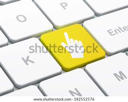 Web development concept: computer keyboard with Mouse Cursor icon on enter button background, selected focus, 3d render - stock photo
