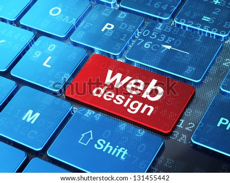 Web development concept: computer keyboard with word Web Design on enter button, 3d render - stock photo