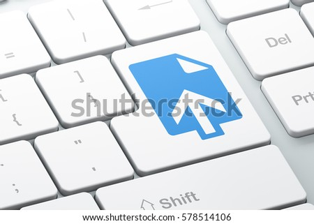 Web development concept: Enter button with Upload on computer keyboard background, 3D rendering