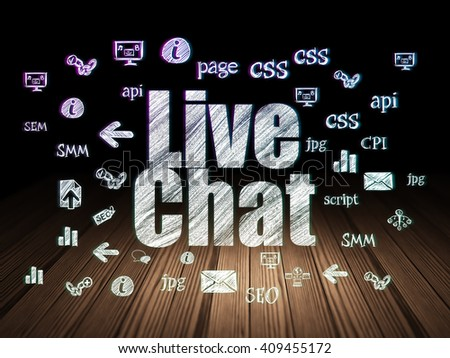 Web development concept: Glowing text Live Chat,  Hand Drawn Site Development Icons in grunge dark room with Wooden Floor, black background - stock photo