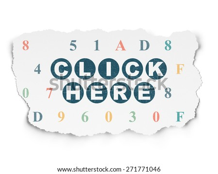 Web development concept: Painted blue text Click Here on Torn Paper background with  Hexadecimal Code, 3d render - stock photo