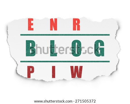 Web development concept: Painted green word Blog in solving Crossword Puzzle on Torn Paper background, 3d render - stock photo