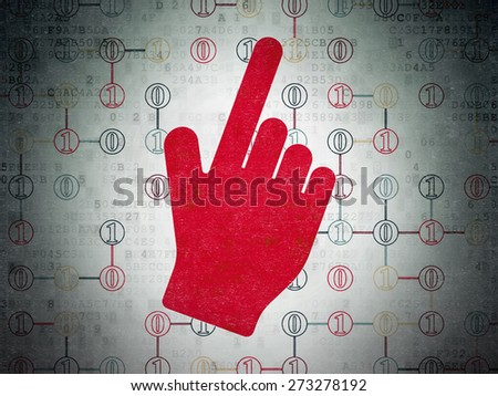 Web development concept: Painted red Mouse Cursor icon on Digital Paper background with Scheme Of Binary Code, 3d render - stock photo