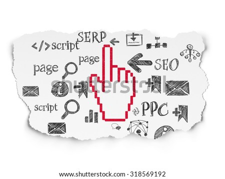 Web development concept: Painted red Mouse Cursor icon on Torn Paper background with  Hand Drawn Site Development Icons - stock photo