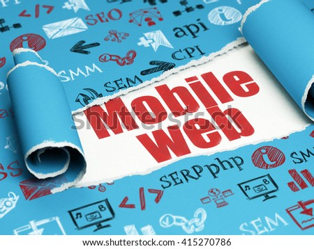 Web development concept: red text Mobile Web under the curled piece of Blue torn paper with  Hand Drawn Site Development Icons, 3D rendering - stock photo