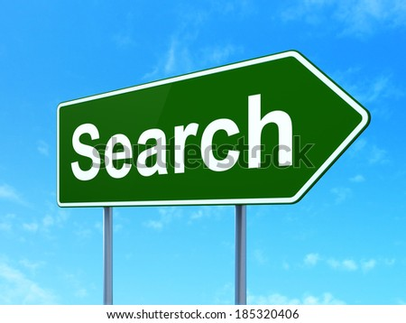 Web development concept: Search on green road (highway) sign, clear blue sky background, 3d render