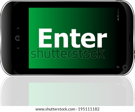Web development concept: smartphone with word enter on display - stock photo